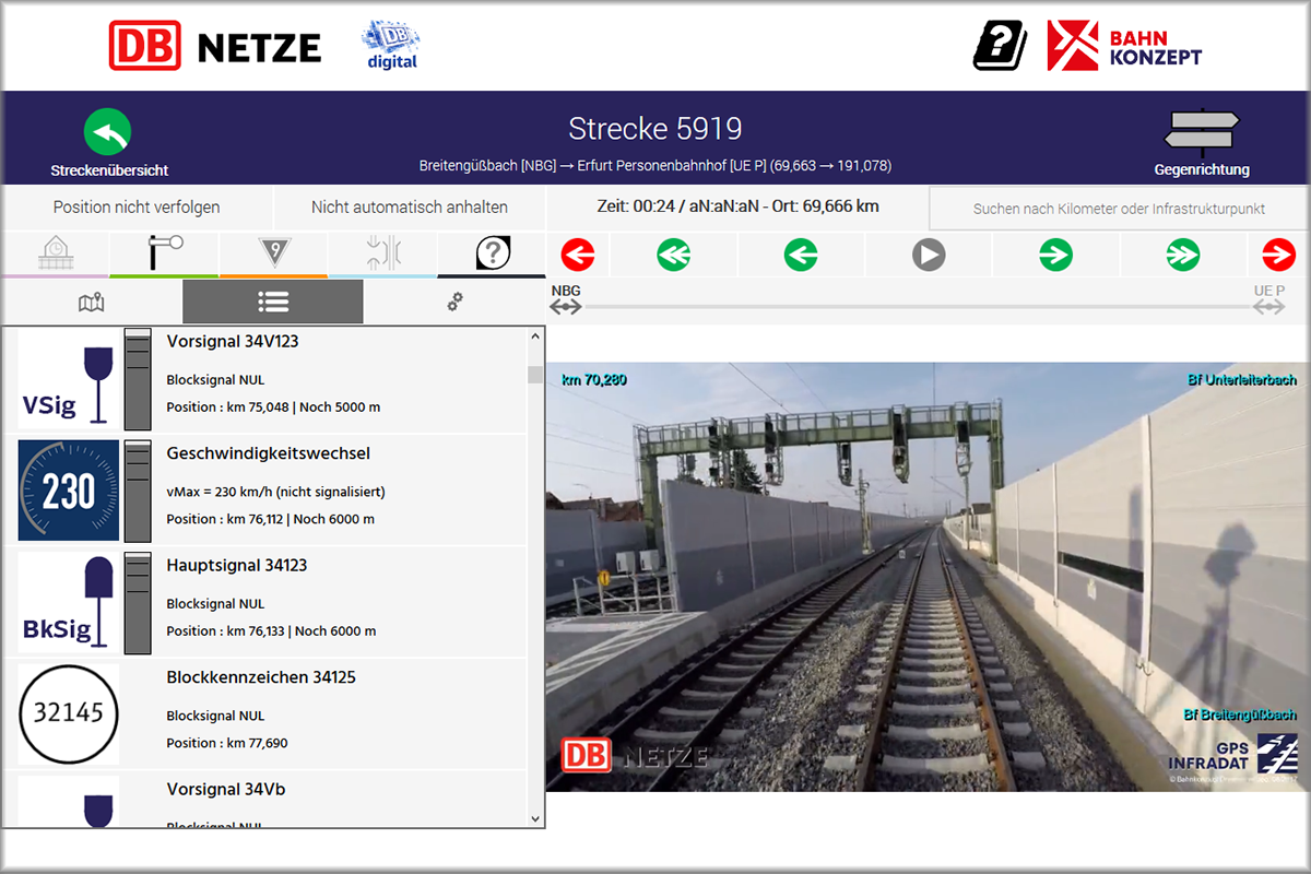 VIDINS.web track view (German version)